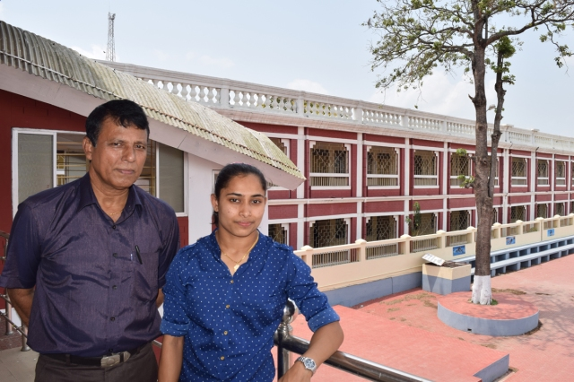 Dipa Karmakar with coach Bisweshwar Nandi at their Tripura Sports Council office